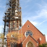 Scaffold around St. Thomas Church steeple