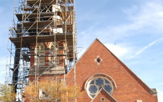 Scaffold around St. Thomas Church steeple
