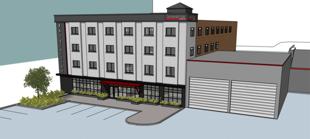 Rendering of exterior renovation plan for Schweitzer Inc.'s new headquarters at 86 S. Division Street in Battle Creek.